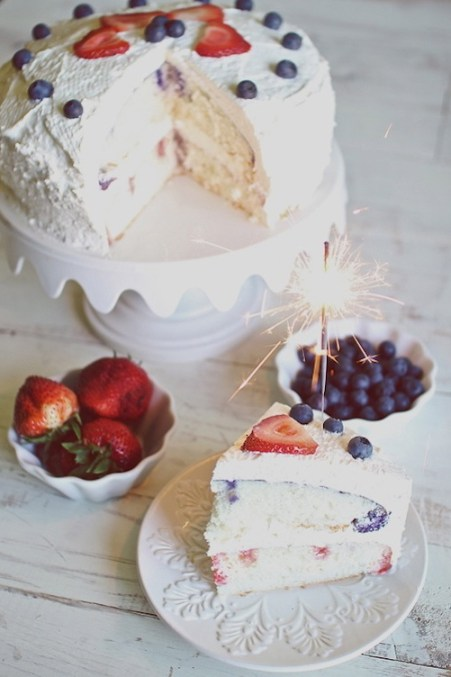 healthy strawberry blueberry poke cake for the Fourth of July