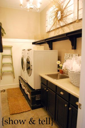 laundry room remodel with storage pedestals