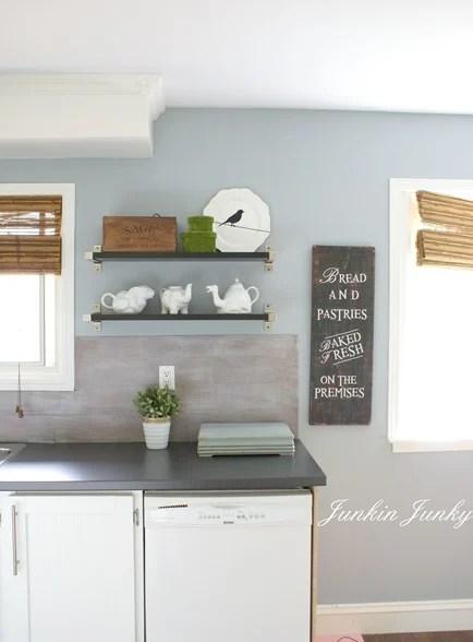 weathered wood planked kitchen backsplash, Junkin Junky