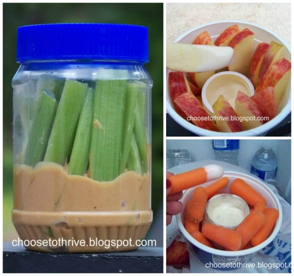 easy on the go snacks -- carrots, apples, and celery