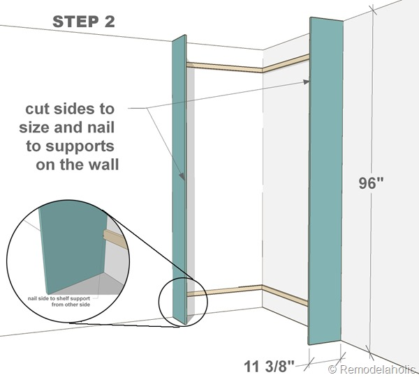 Plans for built-in corner bookshelf Step 2