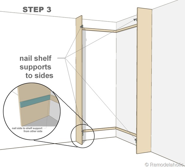 Plans for built-in corner bookshelf Step 3