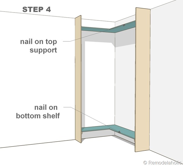 step 4 - corner built-in bookshelves