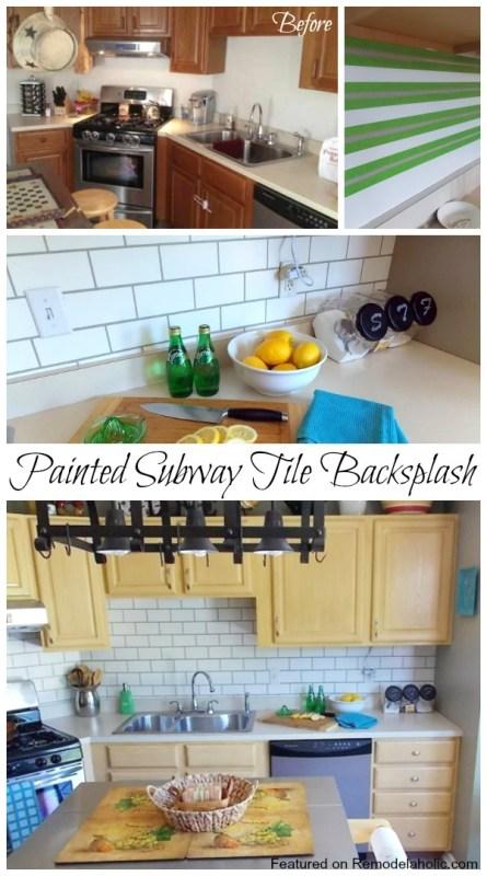 Painted Subway Tile Backsplash Tutorial featured on Remodelaholic