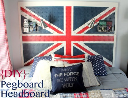 diy union jack pegboard headboard, Our Fifth House