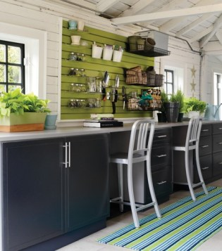 green slat wall organizer and workbench, House and Home