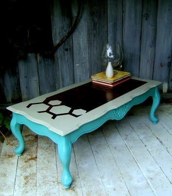 restored and hexagon stenciled French provincial table, Nine Red