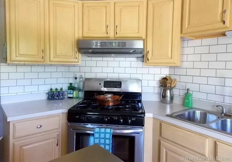 kitchen backsplash faux painted subway tile