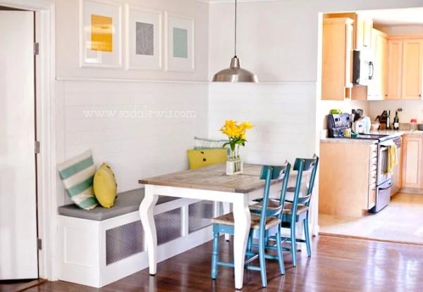 kitchen banquette with corner bench, Sada Lewis