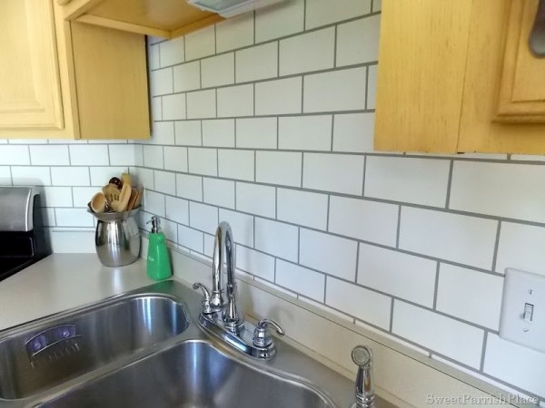 kitchen painted backsplash faux subway tile