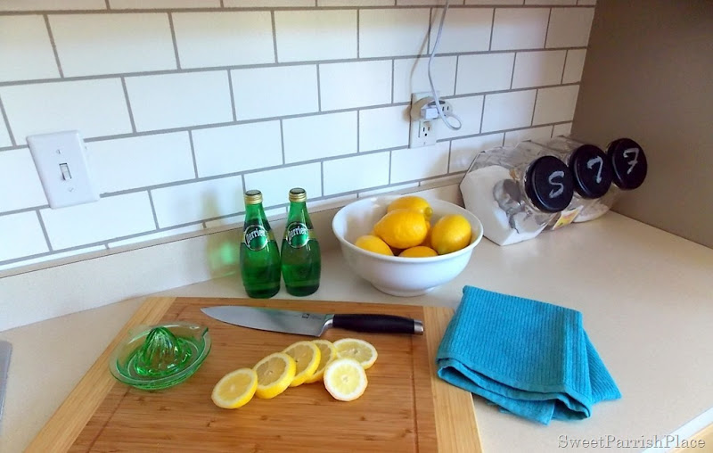 kitchen painted subway tile backsplash