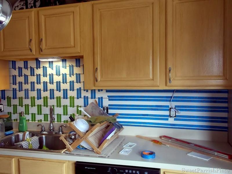 taping painted subway tile backsplash part 5
