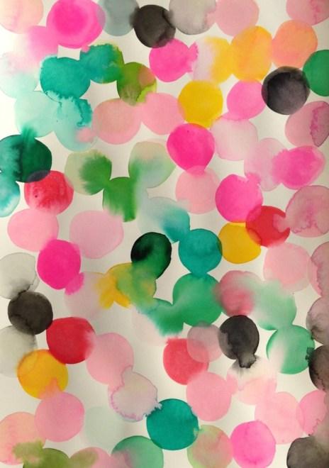 watercolor polkadots