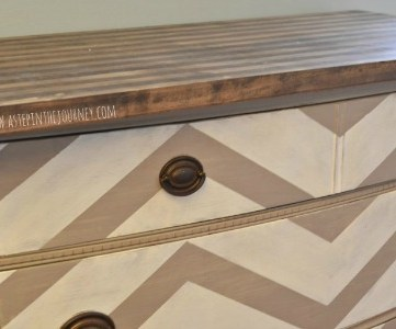 chevron kitchen buffet dresser with striped butcher block top feature