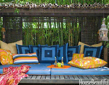 colorful cabana outdoor room, House Beautiful