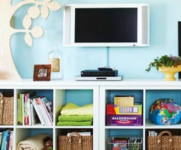 Get This Look: Colorful Cubbies for an Organized Family Room