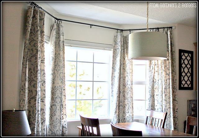 damask stenciled curtains, Gardeners to Bergers on Remodelaholic