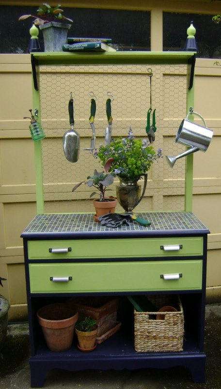 repurposed dresser to garden potting bench, Jarden Designs