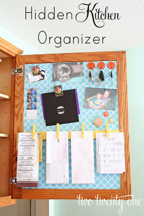 hidden kitchen organizer and command center, Two Twenty One on I Heart Organizing