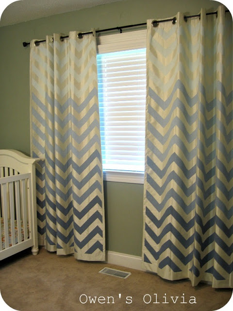 ombre painted chevron curtains, Owen's Olivia on Remodelaholic