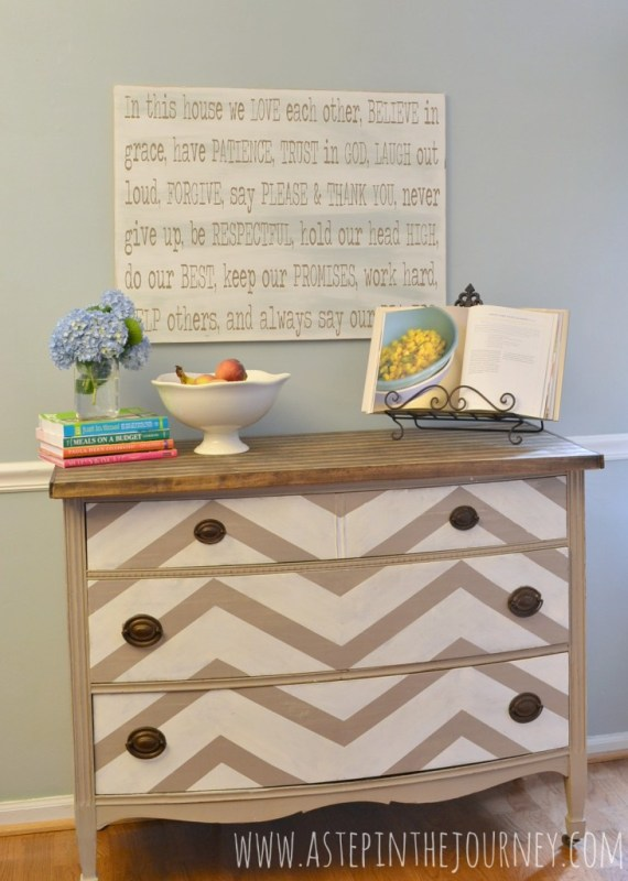 repurposed dresser to butcher block kitchen island buffet