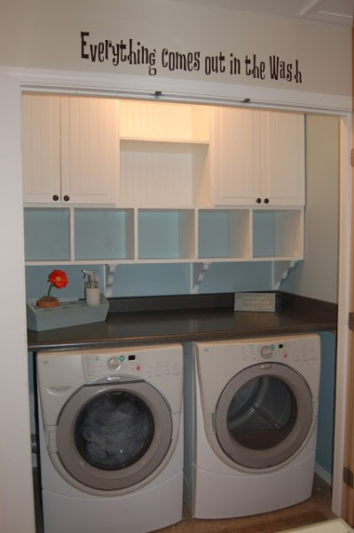small laundry closet with built-in cubbies and cabinets, The Sparitarian