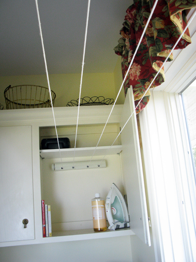 small laundry space - use retractable clothesline, Just About Home