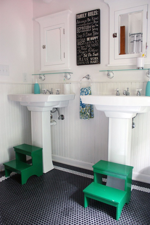 Get This Look Bright White Double Vanity Bath Remodelaholic