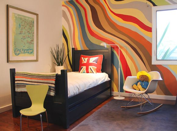 wavy painted stripe walls