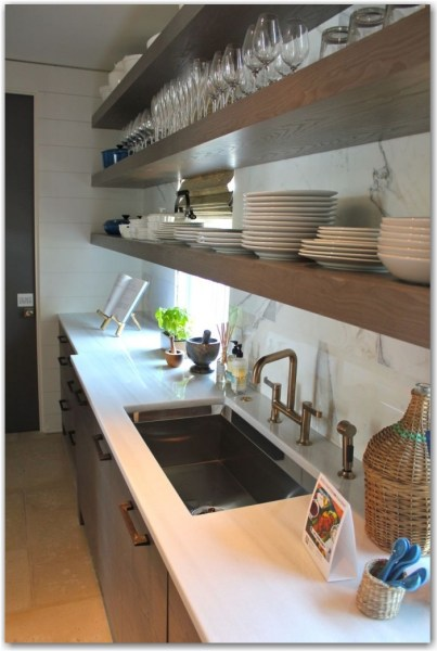 wood cabinets with open shelving