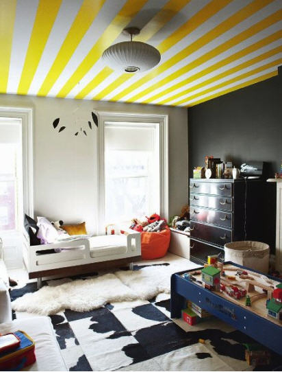 yellow-striped-ceiling