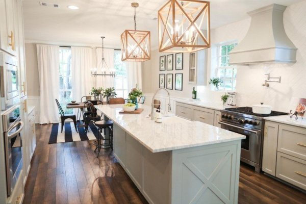 Fixer Upper Chip 2 0 House Kitchen With Blue Grey Cabinets, Featured On Remodelaholic