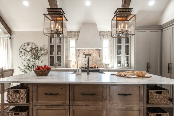 Fixer Upper Hot Sauce House Kitchen With Wood, Grey And White Cabinets, Featured On Remodelaholic