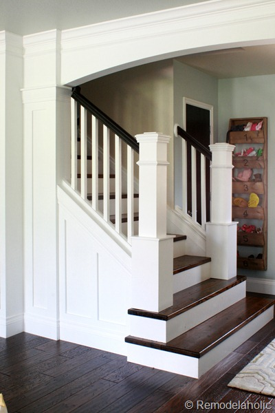 Remodelaholic stair remodel with custom newell posts