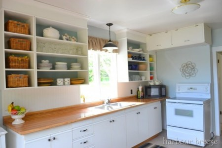 best kitchen remodel ideas -- kitchen update on a $100 budget with open cabinets, Harbour Breeze on Remodelaholic