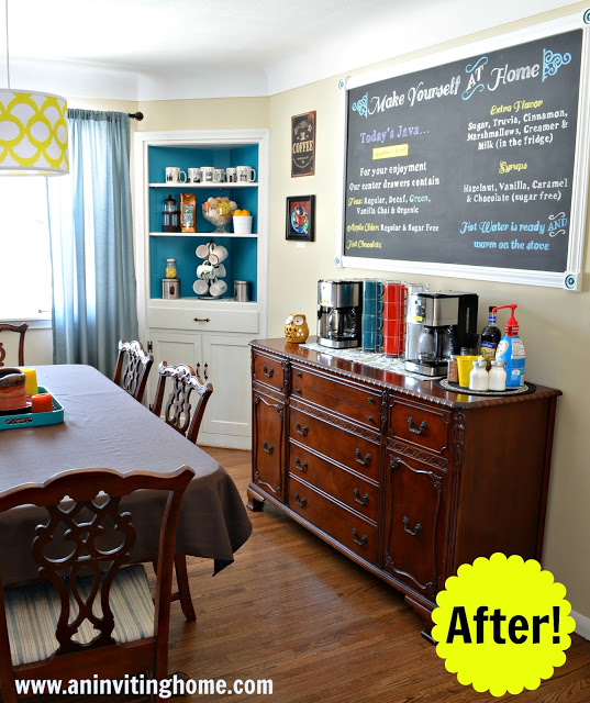 bright yellow and turquoise self-serve coffee bar