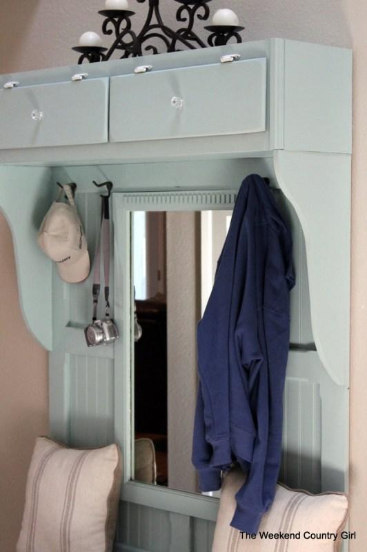 build a mudroom bench with mirror
