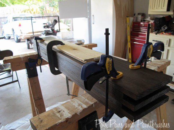 clamping the modern floating mantel shelf