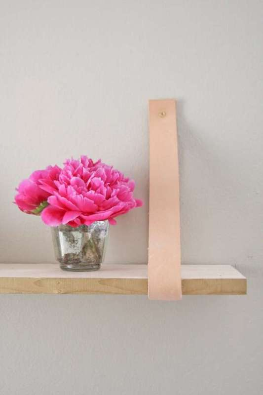 diy wood and leather shelf, Camille Styles on TrendHunter