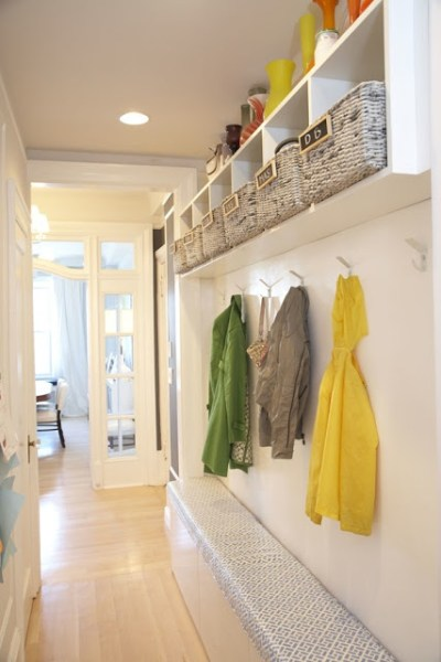 hallway mudroom bench and cubbies, Dwellers Without Decorators