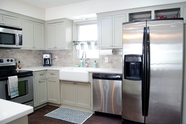 Light Grey Painted Kitchen Renovation With Refinished Hardwood Floors, Ramblings From The Burbs Featured On Remodelaholic