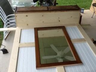 mudroom bench mirror in progress