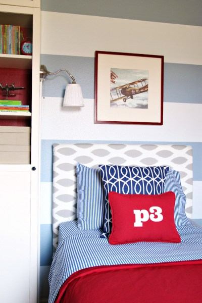 pattern mixing boys room in red and blue, I Heart Organizing