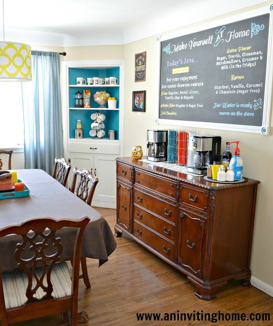 Create Your Own Self-Serve Coffee Bar | featured at Remodelaholic.com #coffee #selfserve #guests @Remodelaholic