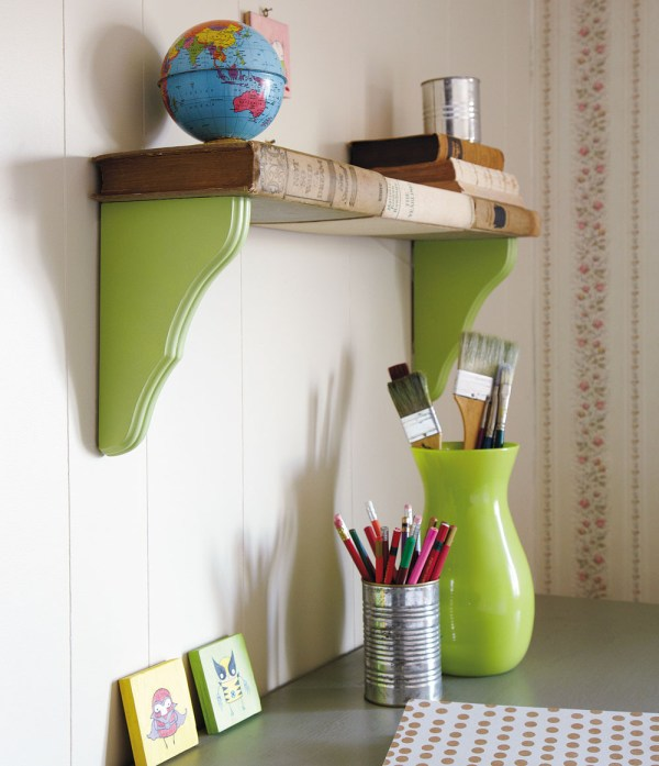 shelf made from brackets and old books, Melanie Falick - The Repurposed Library