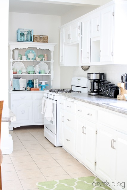White Kitchen Remodel Reusing Old Thrifted Cabinets