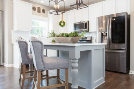 White Kitchen Remodel With Grey Island, Peace And Pine Designs