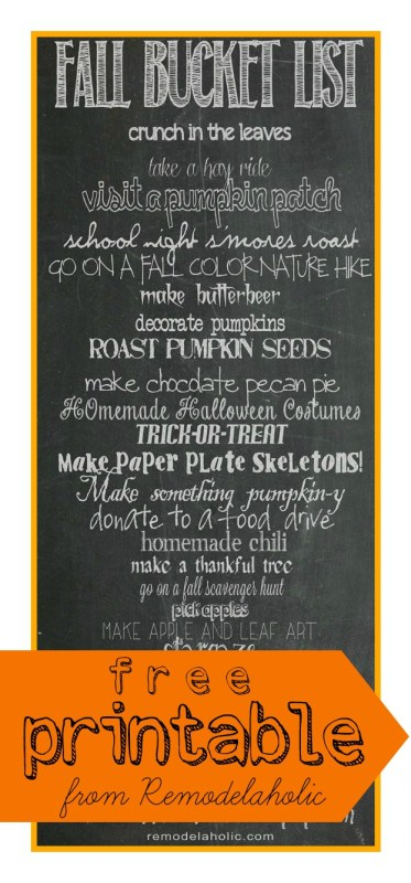 Fall Bucket List - 25 things to do for fall, printable from Remodelaholic.com
