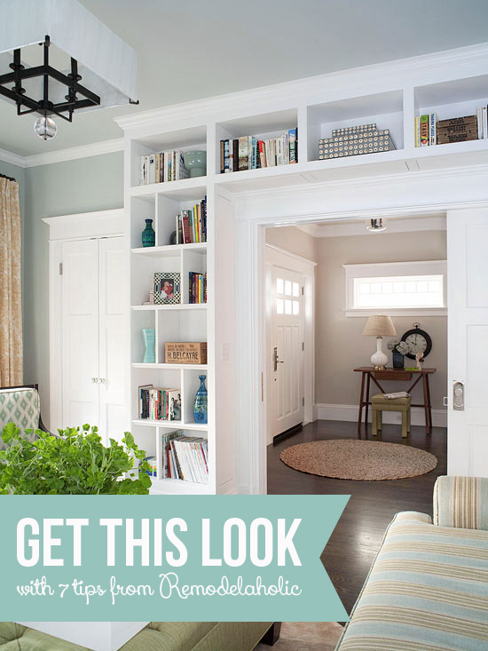 Get This Look: Living Room Built-In Shelves   7 tips for a stylish home library from Remodelaholic.com #builtins #getthislook #library #livingroom @Remodelaholic
