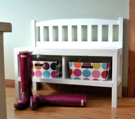 build a cottage entry bench with storage, Ana White